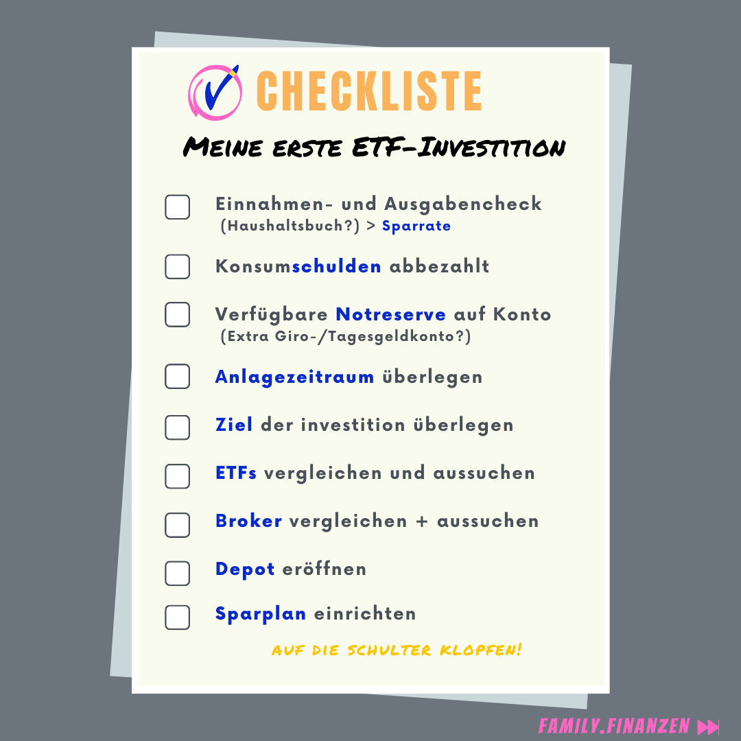 Die Checkliste für deine erste ETF- Investition